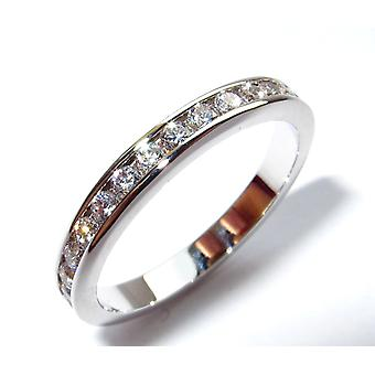 Ah! Gioielli Donne's Canale Set Sterling Silver Clear Eternity Band, Timbro 925