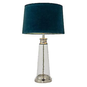 Endon Winslet 1 Light Table Light Clear Hammered Glass & Teal Velvet 90545