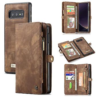 Para Samsung Galaxy S10e Case, Brown Wallet Leather Destacaable Flip Stand Cover