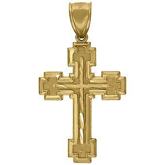 10kイエローゴールドメンズ女性スパークルカットクロス宗教的な魅力ペンダントネックレス対策47.9x26.10mmワイドジュエリーギフトf