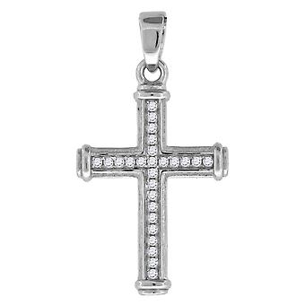 Measures 30.4x18.9mm Wide 925 Sterling Silver Unisex Cubic Zirconia Angel Religious Charm Pendant