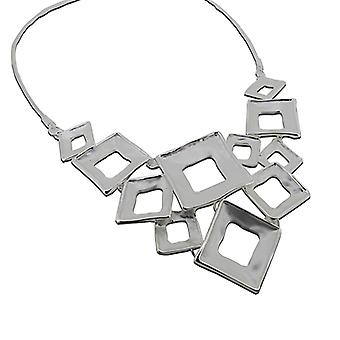 Hollow Multi-Squares Necklace - Argent