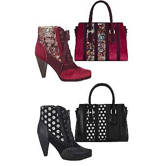 Ruby shoo kvinnor ' s peri hög klack snörning stövlar & matchande Panama väska