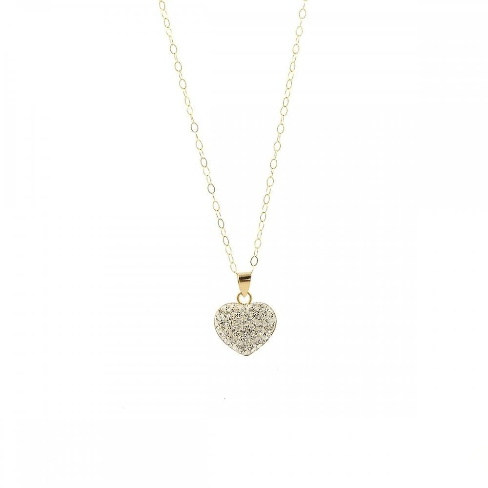 Eternity 9ct Gold Crystal Set Heart Pendant And 16'' Trace Chain