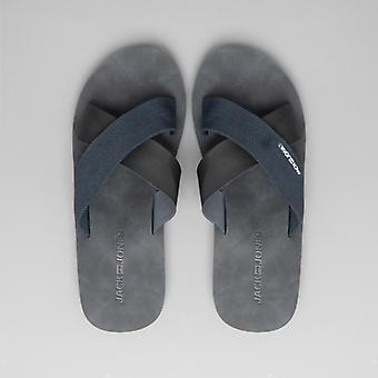 Jack & Jones Nova Mens Leather Mule Sandals Anthracite