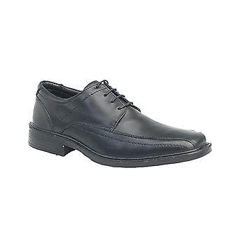 Roamers Black Leather 4 Eye Tramline Panel Tie Shoe