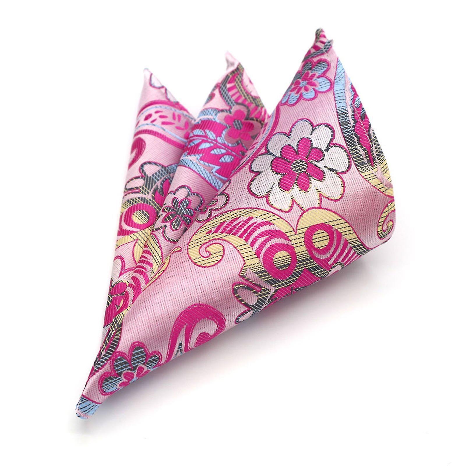 Pink & yellow swirl pattern designer look pocket square
