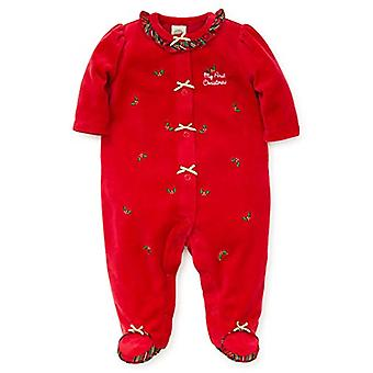 Little Me Baby Girl's Velour Footie Pants, Holly Plaid Christmas red/Gold/Mul...