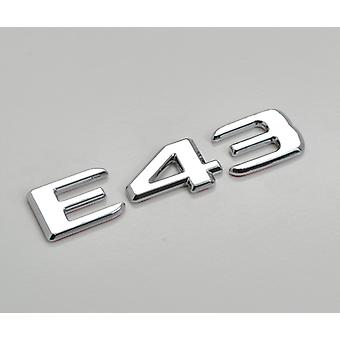 Silver Chrome E43 Flat Mercedes Benz Car Model Numbers Letters Badge Emblem For E Class W210 W211 W212 C207/A207 W213 AMG