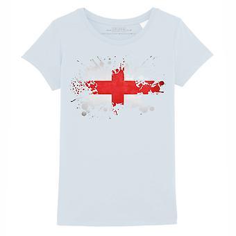 STUFF4 Girl's Round Neck T-Shirt/England/English Flag Splat/Baby Blue