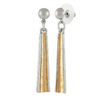 Eternal Collection Unity Two Tone Gold Enamel Silver Tone Drop Pierced Earrings