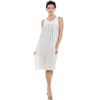 Camille Blue & Grey Floral Pinstriped Sleeveless Nightdress
