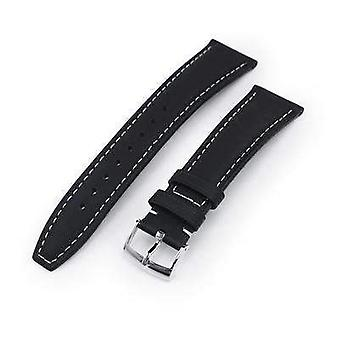 Strapcode leather watch strap 20mm or 22mm black kevlar finish watch strap, beige stitching, polished