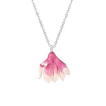 Ikuinen kokoelma Magnolia vaaleanpunainen ja valkoinen emali hopea sävy kukka riipus