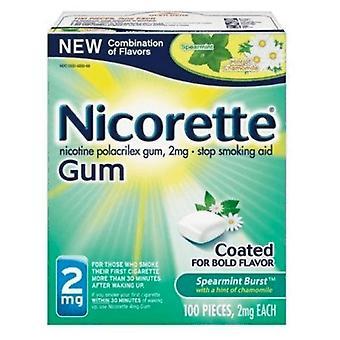 Nicorette nicotine gum, 2 mg, spearmint burst, 100 ea