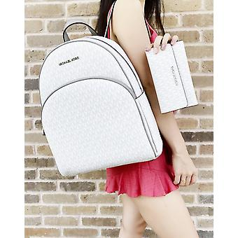 Michael kors abbey large backpack white mk + trifold wallet