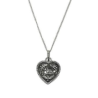 Elements 925 Silver Oxidised Engraved 'Love' Heart Pendant on 18'' Chain P3427
