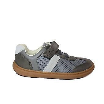 Clarks Flash Step Kids Grey Combi Leather Boys Rip Tape/Bungee Lace Shoes