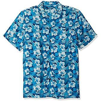 Caribbean Joe Men's Classic Camp Short Sleeve Island Shirt, Aloha Blue, Extra...