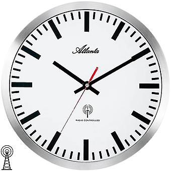 Atlanta 4371/B Seinäkello kello Radio radio kello analoginen hopea valkoinen pyöreä