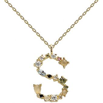 PD Paola CO01-114-U necklace and pendant - I AM in gold silver with natural stones and semi-precious Women
