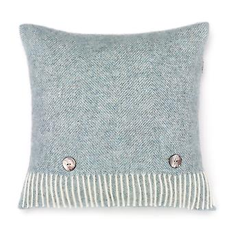 Herringbone Wool Cushion Duck Egg Blue