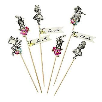 Truly Alice in Wonderland Canape Food Flag Picks x 12 Mad Hatters Party Wedding