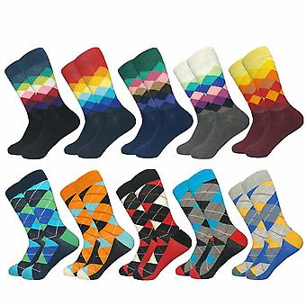 Patterned Men's Socks, Mixed Checkerboard Pattern - 10 Pairs