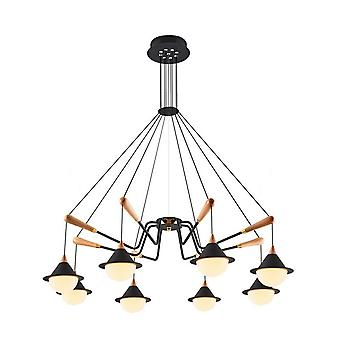Lampe de suspension Abi couleur noire, bois métallique, acrylique 96x96x120 cm