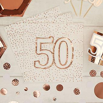 Rose Gold Spotty 50th Birthday Paper Party Napkins x 16 - 3ply
