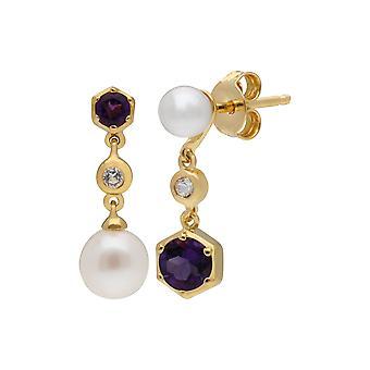 Moderne Perle, Amethyst & Topas nicht übereinstimmende Tropfen Ohrringe in vergoldet Sterling Silber 270E030104925