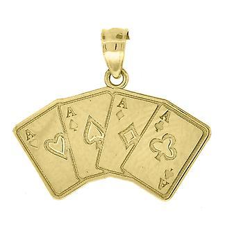 10kゴールドメンズ4エースの高さ19.1mm X幅22mmギャンブルチャームペンダントネックレスジュエリーギフト男性のための