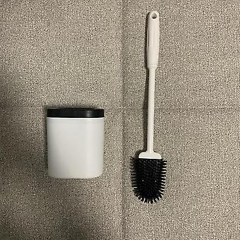 Creative Silicone Toilet Brush - Wall Mounted Flat Head Flexible Soft Bristles Brush With Quick Drying Holder Set
