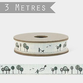 East of India Kite Flying in park with Trees Grosgrain Ribbon 3m Craft
