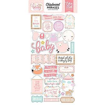 Echo Park Hello Baby Girl 6x13 Inch Chipboard Phrases