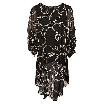 Frank Lyman Black Gathered Sleeve Fishtail Tunic With Gold Chain Design
