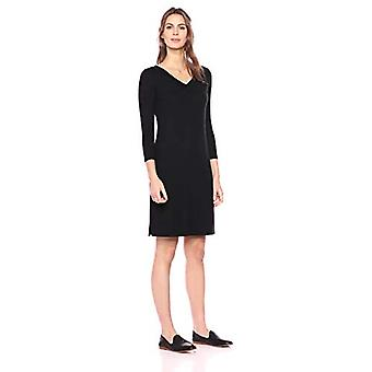 Brand - Daily Ritual Women's Cozy Knit Half-Sleeve V-Neck Dress, Black, Medium