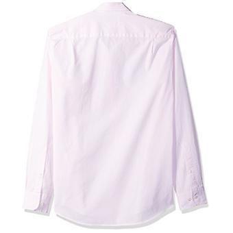 أساسيات الرجال & apos;ق سليم صالح طويل الأكمام الصلبة قميص البوبلين عارضة, الوردي,...