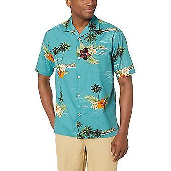 28 Palms Men's Relaxed-Fit 100% Cotton Tropical Hawaiian Shirt, Dark Aqua Sce...