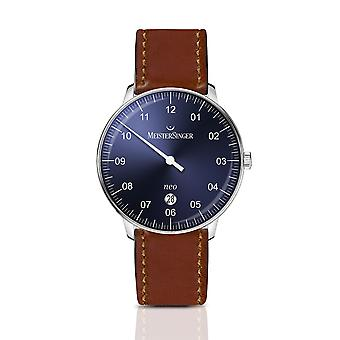 MeisterSinger Neo Plus NE408-SCF03 Automatic Blue Dial Brown Leather Strap Men's Watch