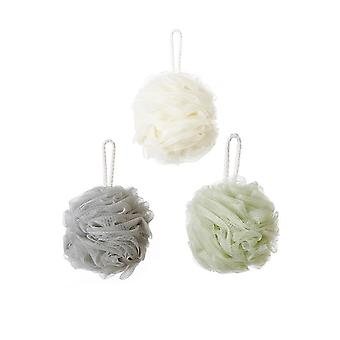 3 sets of Scrub Bubble Bath Ball White and Grey and Green