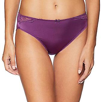 Brand - Arabella Women's Standard Hi Cut Lace Back Panty, 3 Pack, Plum...