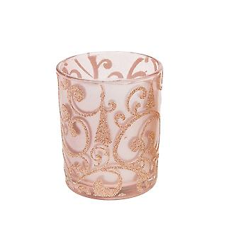 Large Votive Candle with Rose Gold Glitter Decals