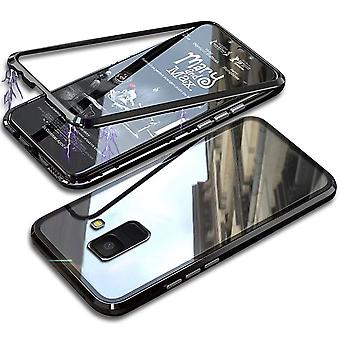 Metal and Glass Protection for Samsung Galaxy A8+ (2018) Hard-Plastic Aluminum Black