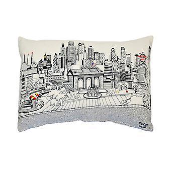 ספרה הום קנזס סיטי ציורית נוף עירוני יום צמר עכשווי / כרית לילה