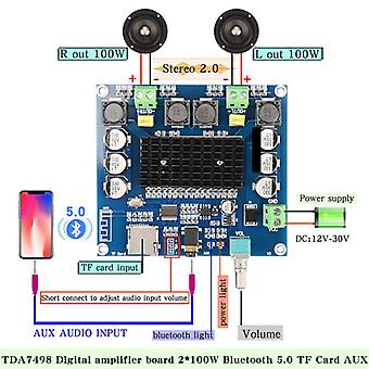 Live Xh-a105 Bluetooth 5.0 Tda7498 Digital Amplifier-board 2x100w-speaker Stereo-audio Amp-module Support Tf Card Aux