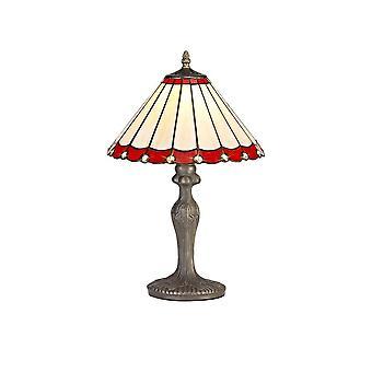 Iluminación luminosa - 1 lámpara de mesa curvada ligera E27 con 30cm tono Tiffany, rojo, cristal, latón antiguo envejecido