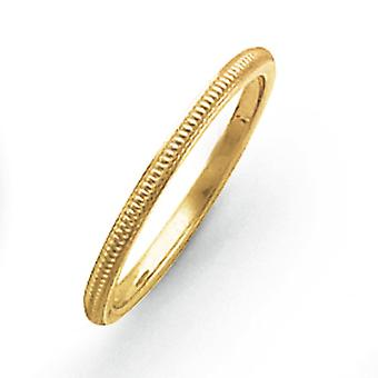 14k Ouro Amarelo Sólido Borda plana polida 1.5mm Milgrain Band Ring Jewely Gifts for Women - Ring Size: 4 a 8