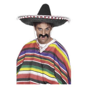 Black Sombrero Hat Mexican Day Of the Dead Cinco De Mayo Fancy Dress