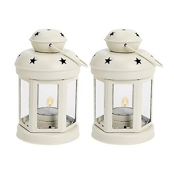 Nicola Spring Candle Lanterns Tealight Holders Metal Hanging Indoor Outdoor - 16cm - Cream - Set 2